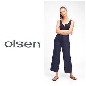OLSEN 100% Linen Navy High Waist Pants